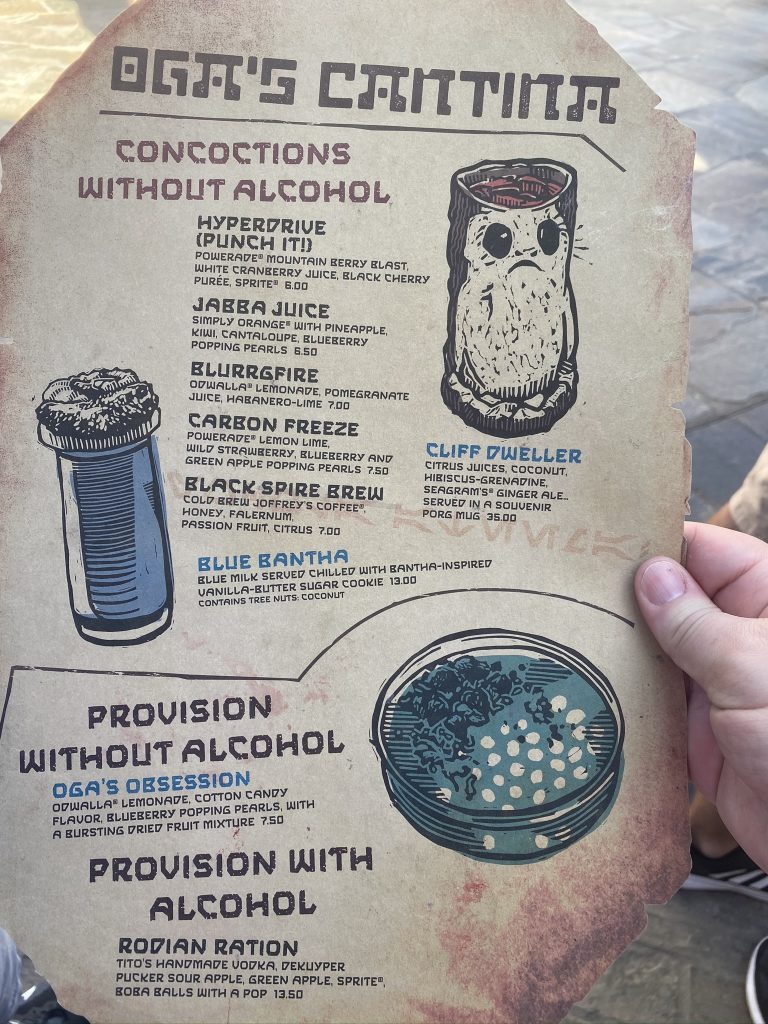 Non-alcoholic drinks at Oga's Cantina