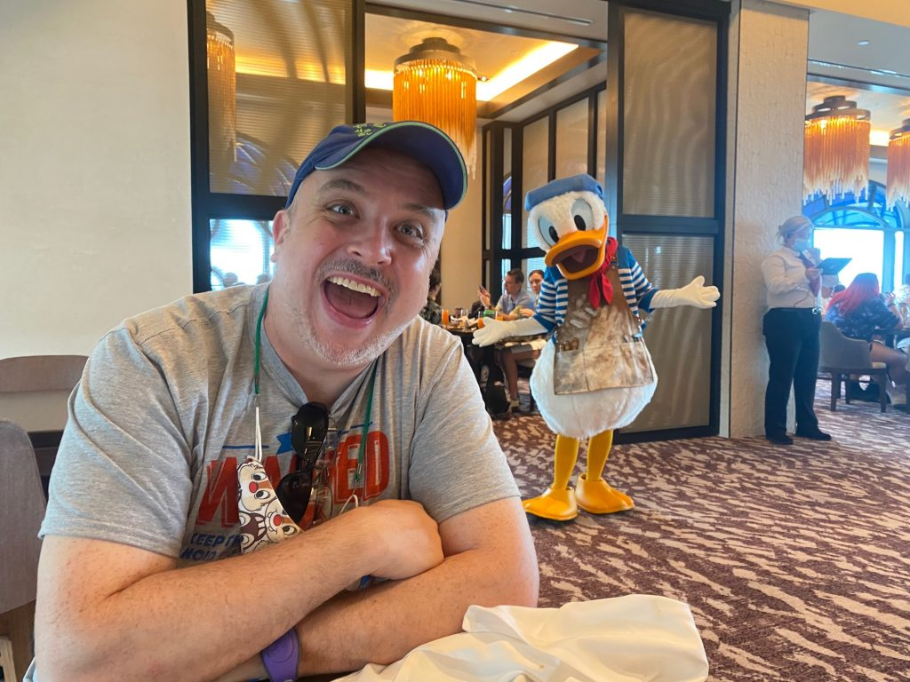 Gary with Donald Duck at Topolino's Terrace
